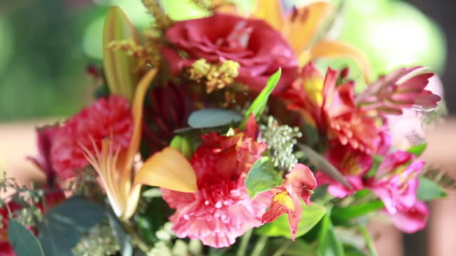 Rack focus, a colorful bouquet of red carnation flowers