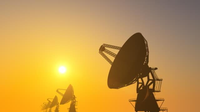 Radio Telescope Array on Sunset (Loopable)