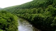 Raften op de rivier in de buurt van de Lehigh door Jim Thorp (Mauch Chunk), Carbon County, Poconos regio, Pennsylvania