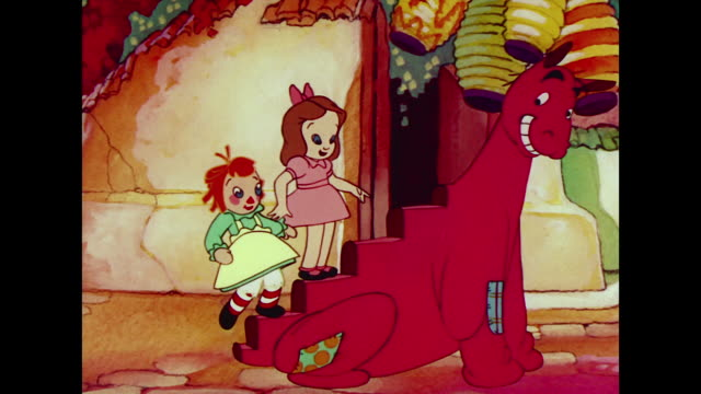 Raggedy Ann and girl excitedly climb back of surprising pantomime horse