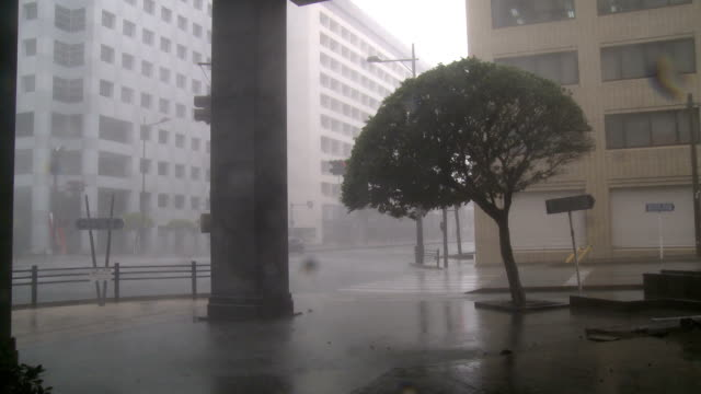 Raging Hurricane Eyewall Winds And Rain Lash City