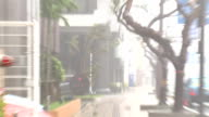 Raging Hurricane Eyewall Winds And Rain Smash Window