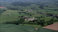 Raglan Castle  - Aerial View - Wales,  Monmouthshire,  helicopter filming,  aerial video,  cineflex,  establishing shot,  United Kingdom