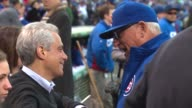 Rahm Emanuel talking to Cubs Manager Joe Maddon at Wrigley Field on April 05 2015 in Chicago Illinois