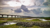 Rail bridge ' Pasak dam ' on twilight time lapse.