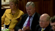 Rail executives face questioning from MPs about above inflation fare increases ENGLAND London INT Graham Stringer MP speaking at meeting of Select...