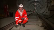 Final piece of Crossrail track laid Whitechapel Station Reporter to camera SOT Andrew Wolstenholme interview SOT