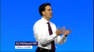 Government withdraws West Coast franchise tender Manchester INT Labour Party Conference Ed Miliband MP on stage Ed Miliband MP speech SOT What can...