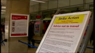 South West Trains strike Waterloo Station South West Trains sign on concourse advising of 'Strike Action'