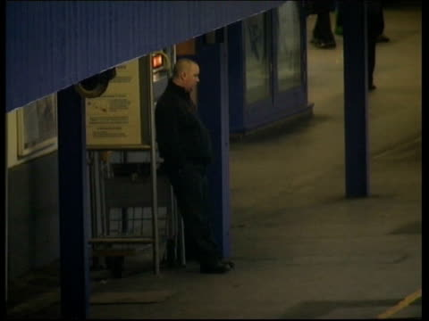 Rail strike action/Government plans ITN London Waterloo Station INT Station concourse deserted because of strike by staff of South West Trains PAN...