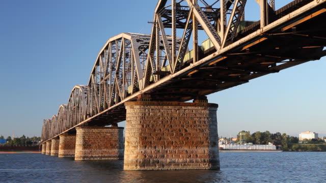 HD railroad bridge with train crossing