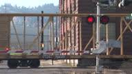 MS, Railroad crossing and freight train, Portland, Oregon, USA