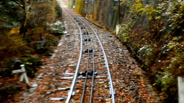 railroad in raining day of autumn