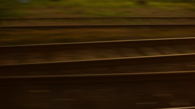 Railroad tracks. Blurred motion