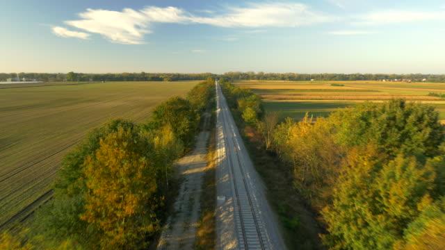 AERIAL Railroad Tracks Through The Countryside