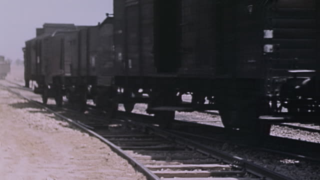 Railroad workers standing on and near moving trains