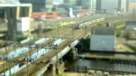 Railway and sea traffic Amsterdam tilt shift time lapse