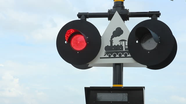 Railway signal working at railroad track