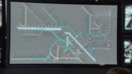PAN Railway station security screen mapping train locations and monitoring multiple areas at the station
