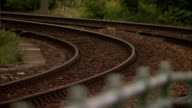 Railway tracks curve out of a Vienna train station. Available in HD.