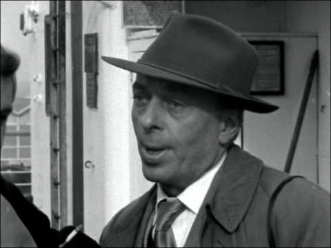 Railway worker Tom Collins emigrates to Australia ENGLAND London Tilbury On board SS Himalaya EXT Tom Collins interview SOF don't feel any animosity...