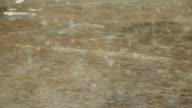 Rain drop on cement floor VDO HD.