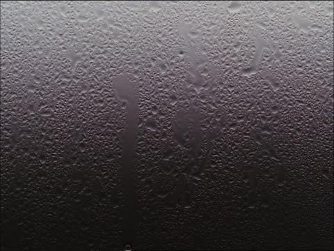 Rain droplets on window pane