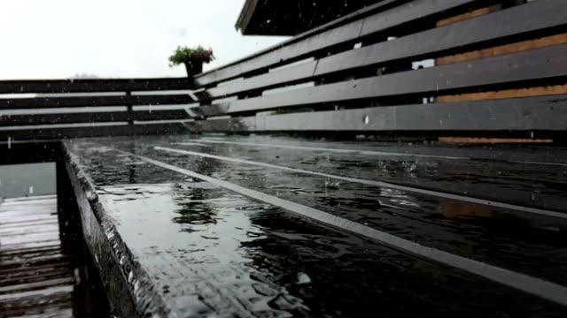 Rain drops on wood bench