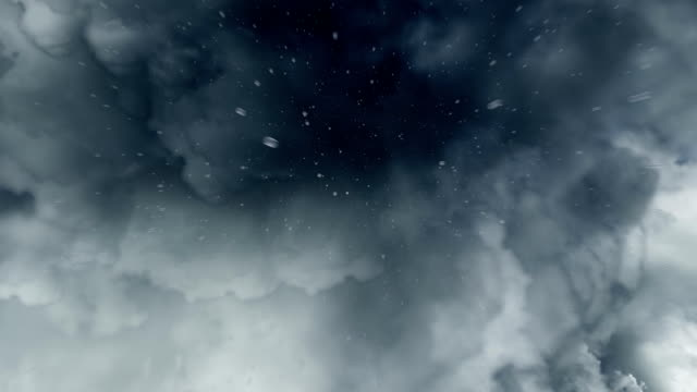 Rain from storm clouds in slow motion