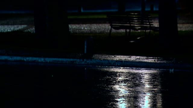 rain on the road at night