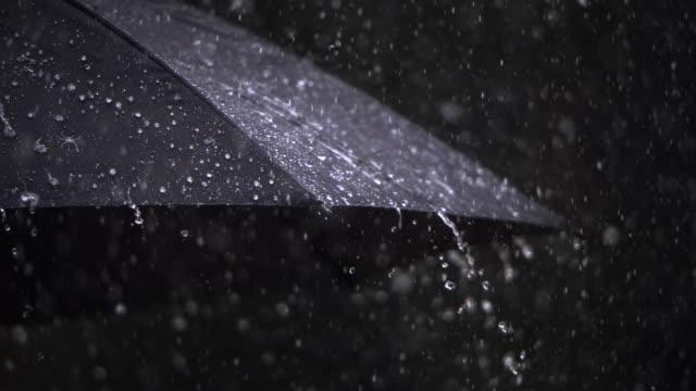 Rain on umbrella, close-up
