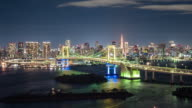 T/L WS HA PAN Rainbow Bridge at Night / Tokyo, Japan