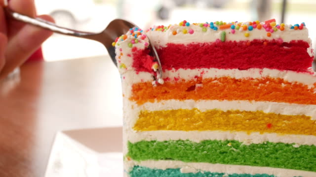 Rainbow cake in the cafe