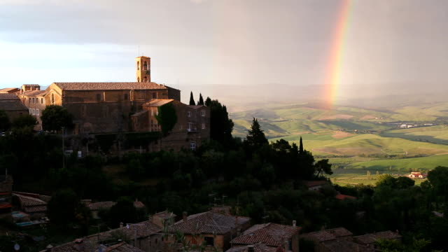 Rainbow church of Montaicino rural Italian countryside Tuscany Italy