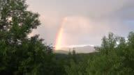 Rainbow in White Mountains in New Hampshire near Mt Washington