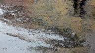 Raindrops falling on asphalt