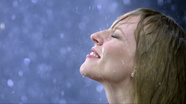 Raindrops Falling On Face (Super Slow Motion)