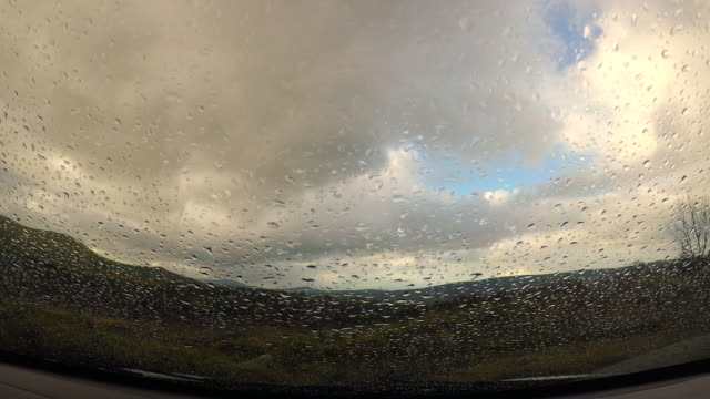 Raindrops On Car Windshield