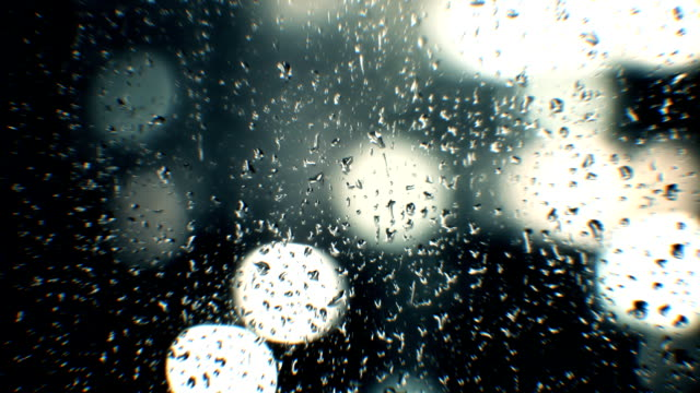 Raindrops on window at night