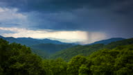 Rainstorm Over Appalachian Mountains  From Blue Ridge Parkway in Asheville, North Carolina - Time Lapse