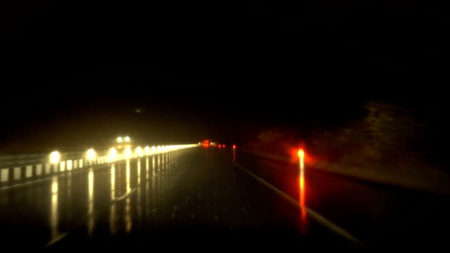 Rainy Night Highway Traffic