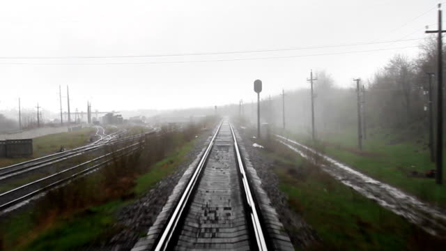 Rainy railroad travel