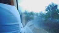 Rainy window in traffic .