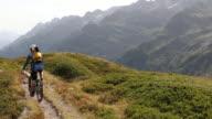 Raised view of mountain biker descending trail