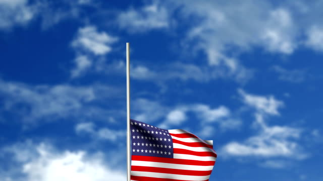 Raising American flag - ceremony