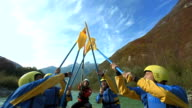 HD SLOW MOTION: Raising Oars Up While Rafting