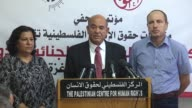 Raji Sourani director of the Palestinian Center for Human Rights and Issam Younis Director General Al Mezan Center for Human Rights speak at a press...