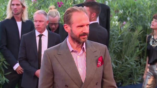 Ralph Fiennes Tilda Swinton and Dakota Johnson attended the red carpet event of the Venice Film Festival for the movie 'A Bigger Splash' of italian...