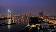 Rama 9-Brücke in der Abenddämmerung Zeitraffer
