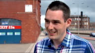 Rangers banned from Scottish Premier League Glasgow Vox pops Low angle view Ibrox Stadium Reporter to camera